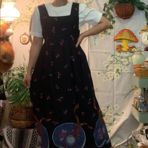 Vintage kawaii hats fruit print pinafore dress set